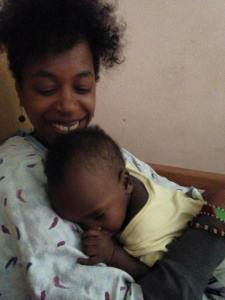 Happygod, one of the more easygoing little ones, falls asleep in my arms.