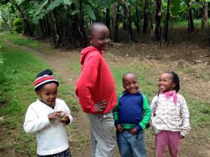 These children run out to greet Harriet and me in the village.