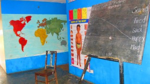 Save Africa has one classroom for all of its kids, despite an age range from 2 to 16 (though some attend a government school).