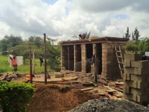 Construction of the toilets begins.