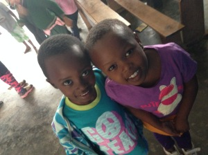 Annie and Agnes, wearing the new clothes we've bought for them.
