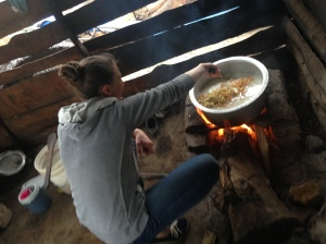 Alexandra making lunch for the kids.